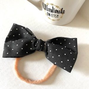 Other - Black and White Polka Dot Bow Nylon Baby Headband